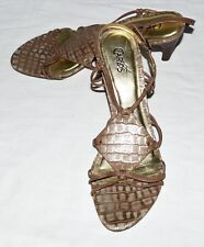 Carlos Santana MANGO Gold Tan Croc Leather Strappy Sandal Slingback Heels 9.5 M