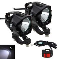 2X 30W LED Motorrad Zusatzscheinwerfer Scheinwerfer Spot Driving Lampe &Schalter