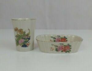 Vintage Porcelain Bathroom Set Soap Dish Toothbrush Holder Peacock Flowers Japan