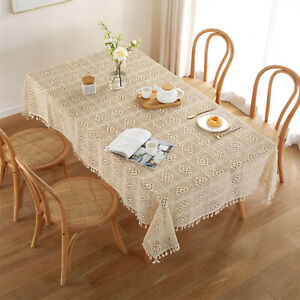 Tablecloth Vintage Cotton Hand Crochet Lace Table Cloth Cover Wedding Home Decor