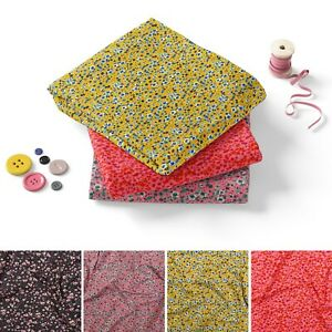 Micro Flowers Floral Print Cotton Jersey Fabric Dress Material, 150cm Wide