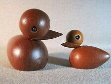 Teak Ducks (Pair) Skjode Skern MCM Danish Bojesen Bolling Era Exc. Cond.
