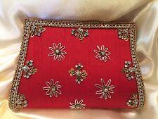 Red Antique Gold Handbag Clutch Wallet Bollywood Indian Dress Purse Art Silk