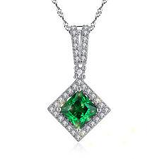 "Women Sterling Silver 2.40 CT Princess Cut Emerald Gemstone Pendant Necklace 18"""