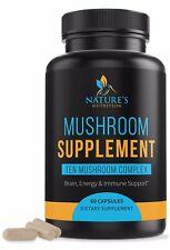 Mushroom Supplement Complex 10 Mushrooms Lions Mane, Reishi, Chaga, Maitake
