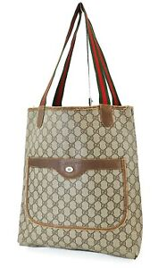 Authentic Vintage GUCCI Brown GG PVC Canvas and Leather Tote Bag Purse #39862B