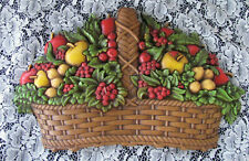 Vintage Home Interior Fruit Basket Wall Plaque Homco Fruit Basket Wall 7533A