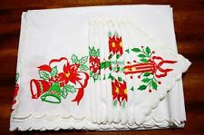 VINTAGE EMBROIDERED WHITE CHRISTMAS TABLECLOTH 12 NAPKINS~68x108 RECTANGLE~NEW