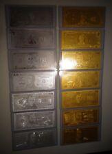 14 GOLD & SILVER DOLLAR BILL SET $1-2-5-10-20-50-100 & EACH IN PVC BILL HOLDER!