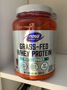 NOW Foods Grass-Fed Whey Protein Concentrate, Chocolate, 1.2 lb Powder, Sealed