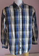 VTG Mens LEE Blue/Grey Checked Thin Flannel Shirt Size Small