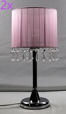 2x Crystal Chandelier Touch Lamp Table Cafe Bedside Lamp Brass Base Pink 42cmH