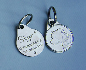 Raza de perros etiquetas 25mm GRABADO Hand Mechanical, Staffordshire, laboratory,