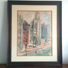 VINTAGE MODERN MODERNIST ABSTRACTION CITYSCAPE PAINTING COLORISM CITY CUBISM