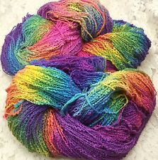 Cotton yarn hand dyed lace weight 410 yds boucle' grapevine shawls knitting