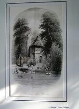 44-50-8 Gravure XIXe jardin zoologique à Paris cabane des hérons