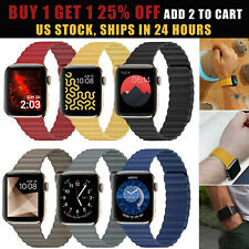 Magnetic Leather Loop Band Strap For Apple Watch iWatch 38mm 40mm 42mm 44mm