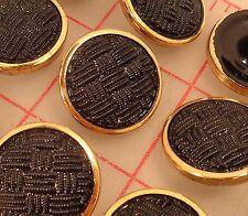 """12 Czech glass shank buttons black textured woven design gold edge 22mm 7/8"""" 741"""
