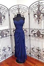 Q45 2707 BILL LEVKOFF 1146 SZ 10 NAVY BLUE CHIFFON FORMAL DRESS GOWN $255