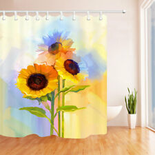 Yellow Sunflowers Modern Art Bathroom Shower Curtain Waterproof Fabric & Hooks