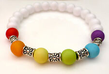 White & Colourful Rainbow Bead & Silver Flower Spacer Bracelet Gay Pride LGBT