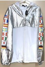 NASA International Flag Jacket Pullover Windbreaker Hyper Space Reflective Sz M