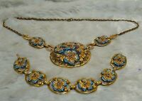VTG Art Deco  Trifari? Coro? Blue Enamel Rhinestone Flower Necklace Bracelet