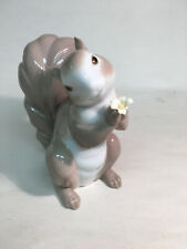 """collectible vintage porcelain Lladro #6410""""Would You be Mine?"""" Squirrel w/flower"""