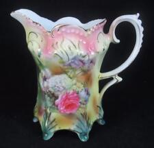 Antique R S PRUSSIA Porcelain Creamer FLORAL DESIGN on JEWEL MOLD