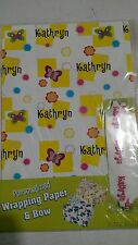 Personalized birthday gift wrap wrapping spring butterflies NIP Kathryn