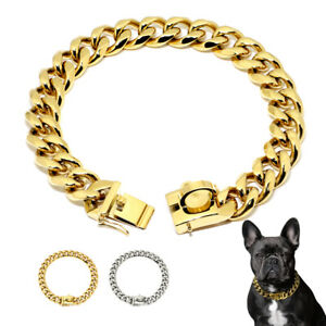 Small Large Dog Chain Collar Heavy Duty Stainless Steel Choke Cuban Link Gold