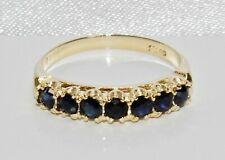 9ct Gold Blue Sapphire 7 Stone Eternity Ring size P