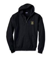 US Army Logo EMBROIDERED Black Zip Hoodie Sweatshirt New