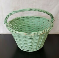 Vintage Green Wicker Rattan Woven Basket with Rolled Swing Handle