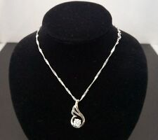 "ANGEL WING Faith Cubic Zirconia Pendant STERLING SILVER 18"" chain Necklace G12"