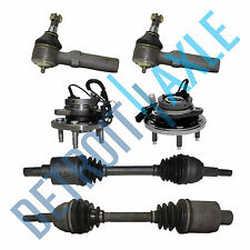 2 NEW Front Wheel Hub Ass'y + 2 Front Axle Shafts + 2 Outer Tie Rod for Freestar