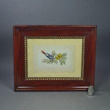 Antique 19th Century Bird Watercolor Georgian Embossed Paper Faux Grain Painted