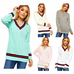 Ladies Cable Knitted V Neck Long Stretch CRICKET JUMPER Pullover Top PLUS UK