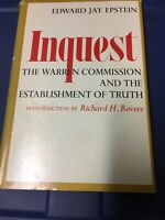 "Vintage ""INQUEST"" by Edward Jay Epstein HC/DJ Warren Commission Book, 1966"