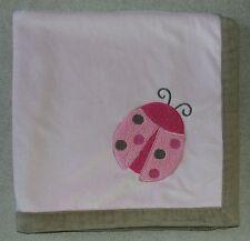 Baby Gear Pink Ladybug Blanket Tan Trim Sherpa