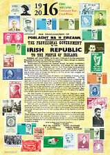 1916 2016 Easter Rising Proclamation A3 Poster with Stamps  in Irish & English