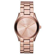 Classy NEW Authentic Michael Kors Slim Rose Gold Tone Womens Wrist Watch MK 3205