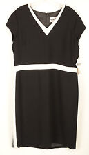 PLAZA SOUTH Womens Sheath Dress Sz 14 Black White V Neck Sleeveless Work NEW