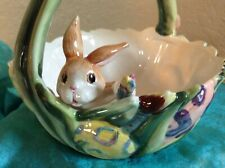 "Fitz & Floyd~""Painting Eggs""~Ceramic~Easter Bunny~Rabbit~Basket~Bowl~ Dish"
