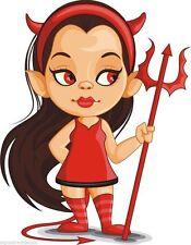 Devil Girl Miedo Dibujos Animados Chraracter Pegatina Gráfica Vinilo Etiqueta
