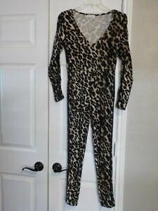 Sexy Body-Hugging Leopard Print Full Circle Trends Size Medium Juniors Catsuit