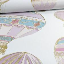 GRANDECO IDECO HOT AIR BALLOONS STRIPE MOTIF METALLIC WALLPAPER ROLL PINK WHITE