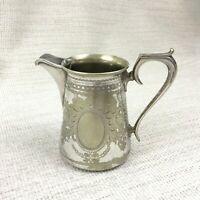 Antik Sahnekännchen Milch Krug Englisch Silber Platte Viktorianisch Klein Dainty