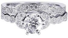 10K WHITE GOLD ROUND MOISSANITE DIAMOND ENGAGEMENT RING AND BAND BRIDAL 0.85CTW