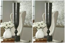 "TWO XL 21"" URBAN INDUSTRIAL ART CAST ALUMINUM VASE BLACK NICKEL FINISH UTTERMOST"